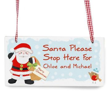 Felt Stitch Santa Stop Here Wooden Sign